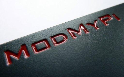 Raspberry Pi case from ModMyPi - logo detail