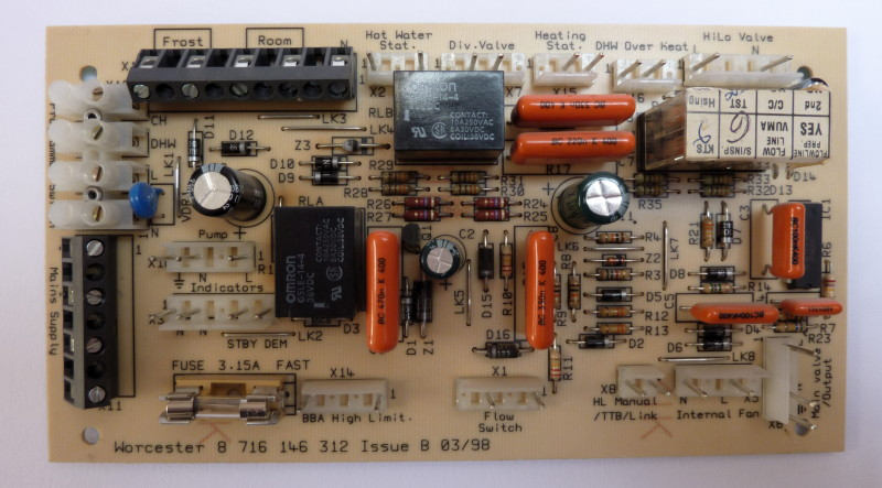 Central heating boiler relay board before parts harvesting