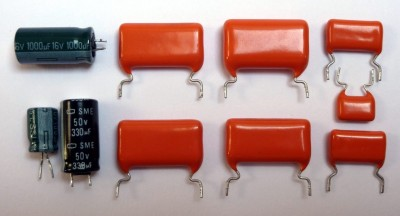 Shiny orange capacitors