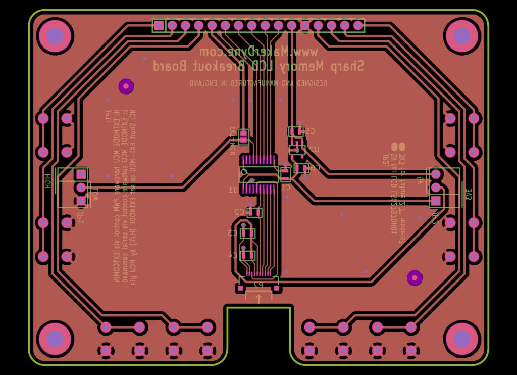 MakerDyne Sharp Memory LCD Large Breakout Board back view