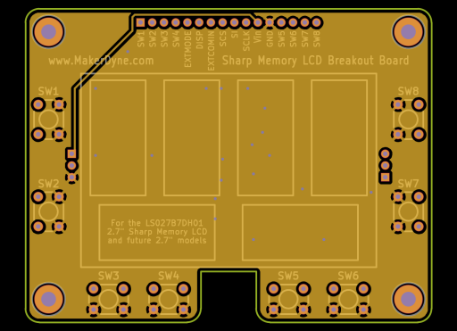 MakerDyne Sharp Memory LCD Large Breakout Board front view