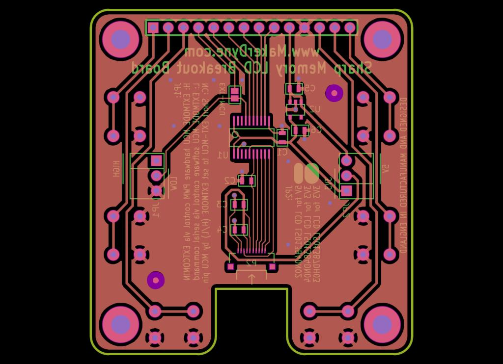 MakerDyne Sharp Memory LCD Small Breakout Board back view