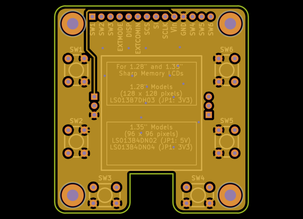 MakerDyne Sharp Memory LCD Small Breakout Board front view