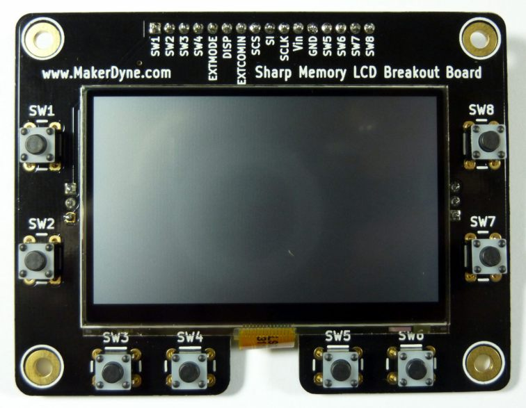 "MakerDyne Sharp Memory LCD Breakout Board with 2.70"" LCD"